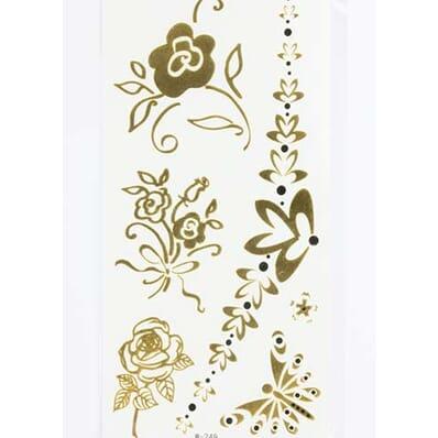 Tatouage Éphémère Métallique Papillon Rose Fleur