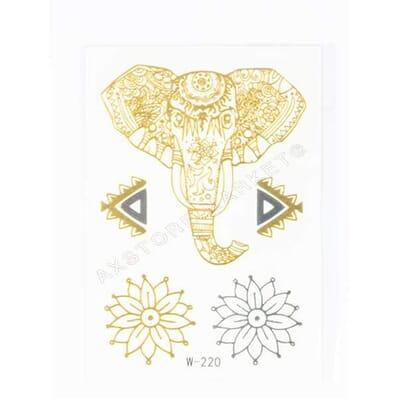 Tatouage Éphémère Métallique Mini Tete Elephant